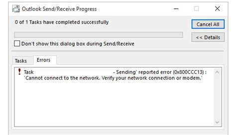 Office 365 Outlook Error Office365 Outlook 2013 Sending Error 0x800ccc13 Cannot