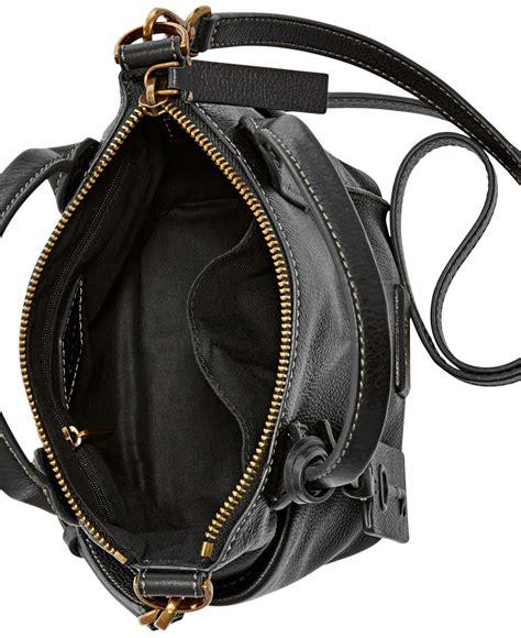 Fossil Mini Black Glitter fossil emerson mini leather satchel in black lyst