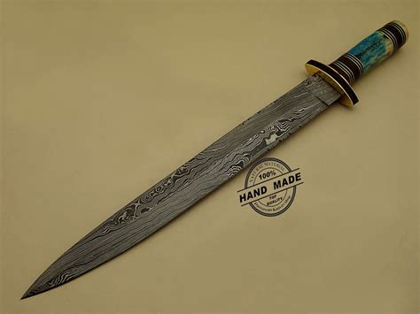 Handmade Custom Swords - damascus dagger sword custom handmade damascus steel