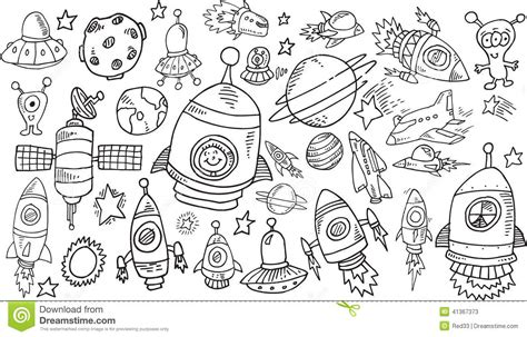 doodle sketch vectors free outer space sketch doodle set stock vector image 41367373