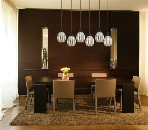 Contemporary Dining Room Lights Danica 6 Light Bronze Linear Pendant With Mercury Glass Contemporary Dining Room New York