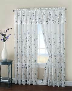 Sheer Curtains With Attached Valance Malta Floral Embroidery Matte Sheer Window Curtain W Valance Set Of 2 108 Quot 84 Quot Ebay