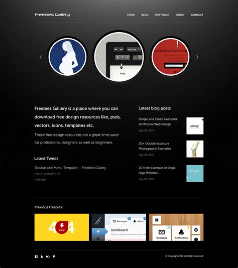 free personal portfolio website psd template vector