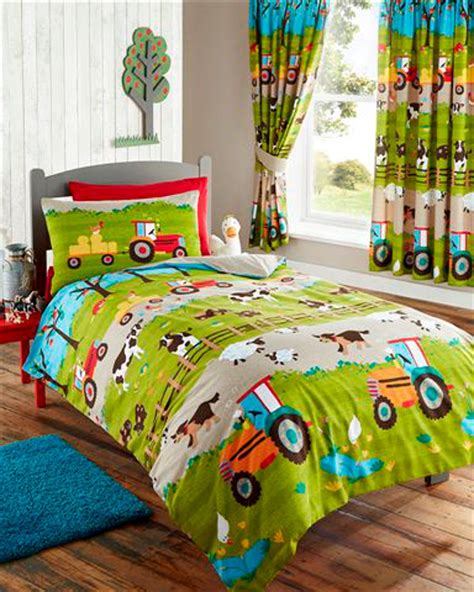 tractor bedding set farm animals tractor kids duvet cover or matching curtains bedding bed set ebay