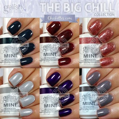 gelish color swatches gelish the big chill collection swatches color comparisons