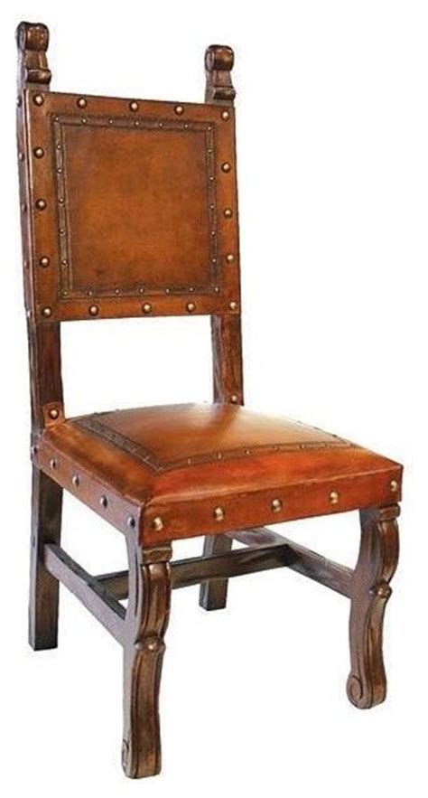 Spanish Heritage Armless Leather Dining Chair Antique Antique Leather Dining Chairs