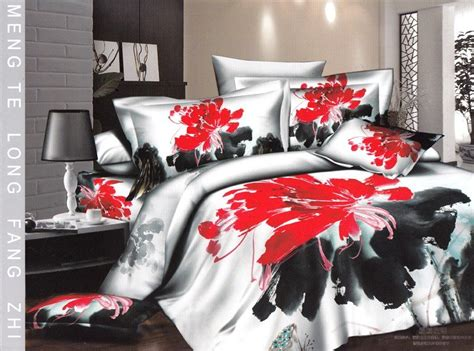 Red White And Black Bedding : Urban Bedroom with Queen