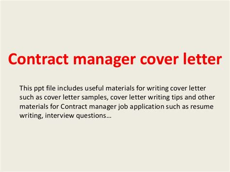Cover Letter Contract Manager Position Contract Manager Cover Letter