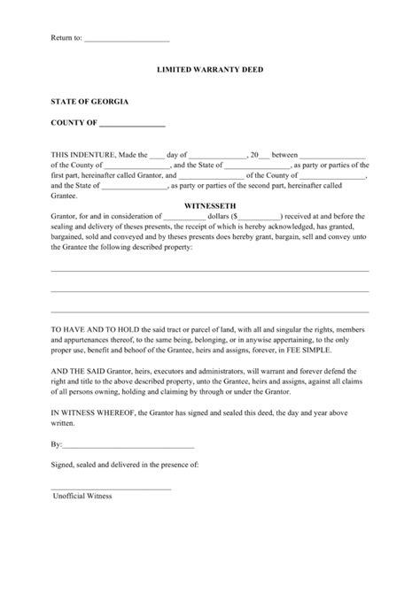 warranty deed form free limited warranty deed form pdf word