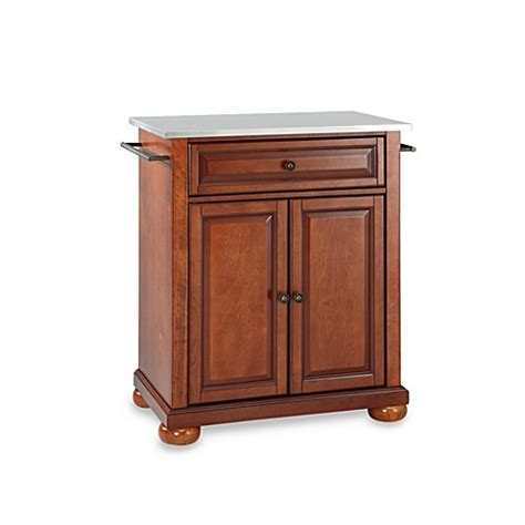 Crosley Alexandria Kitchen Island Buy Crosley Alexandria Stainless Steel Top Portable Kitchen Island In Cherry From Bed Bath Beyond