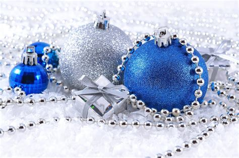 silver and blue decorations silver and blue decorations stock image image