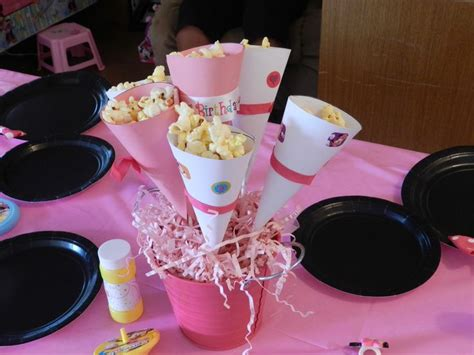 popcorn cone centerpiece baby shower pinterest