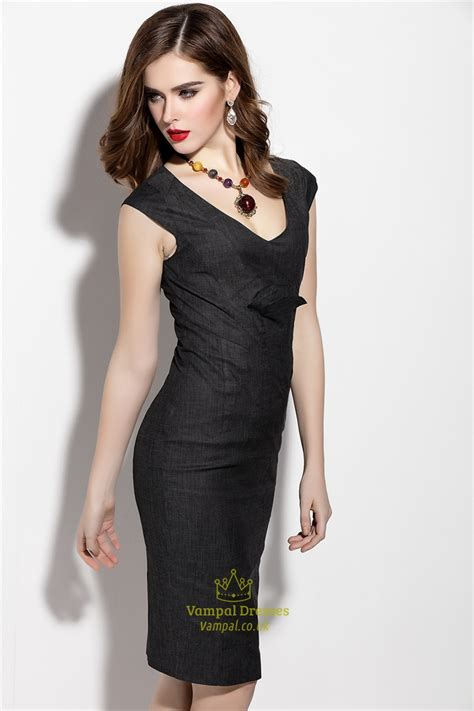 V Neck Sleeve Sheath Dress simple black v neck sheath dress with cap sleeve val
