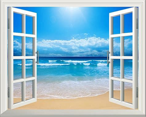 window with a view sunshine beach 3d window decoration view removable wall