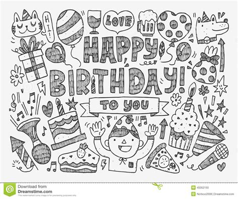 free vector birthday doodle doodle birthday background stock vector image