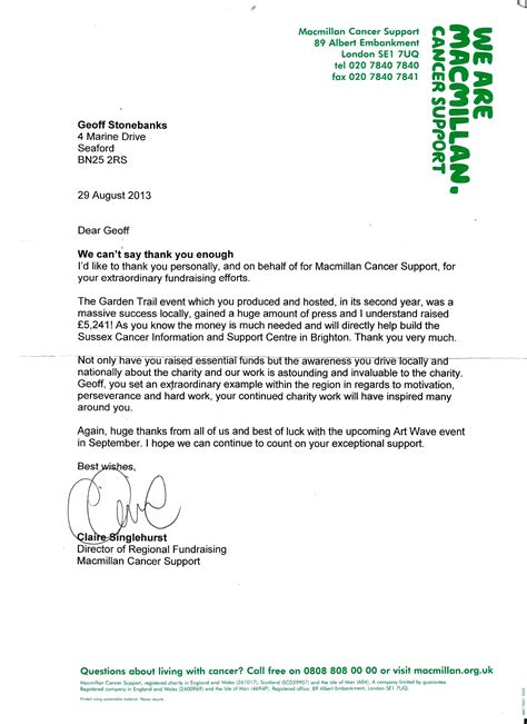 Fundraising Thank You Letter Uk Geoff Stonebanks
