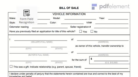 vehicle bill of sale form vehicle bill of sale form free edit fill