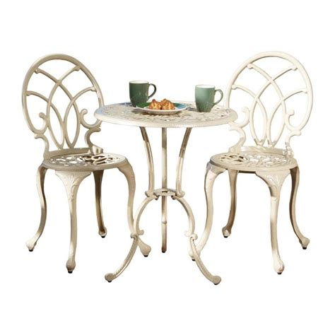 best selling home decor 3 piece bistro set the mine shop best selling home decor anacapa 3 piece sand aluminum