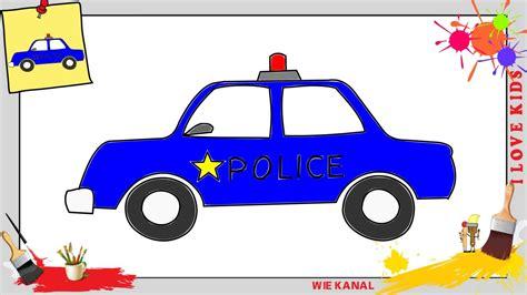Auto Malen Mit Kindern polizeiauto zeichnen schritt f 252 r schritt f 252 r anf 228 nger
