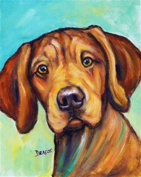 puppy painting rhodesian ridgeback original painting rhodie puppy on bluish larkstudios