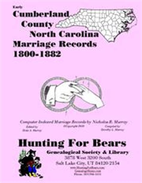 Cumberland County Marriage Records Early Cumberland County Carolina Marriage Records 1800 1882 Open Library
