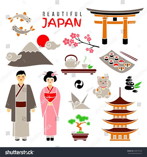 flat icon design japan japan icon set isolated flat icons stock vector 339913100