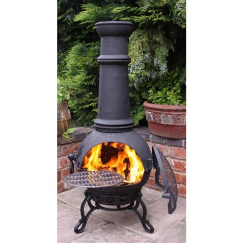 toledo cast iron chimenea with bbq in black savvysurf co uk