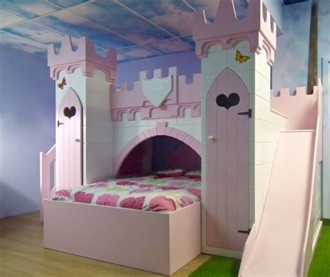 Furniture Girls Bedroom With Pink And White Princess Bunk Princess Bed With Slide