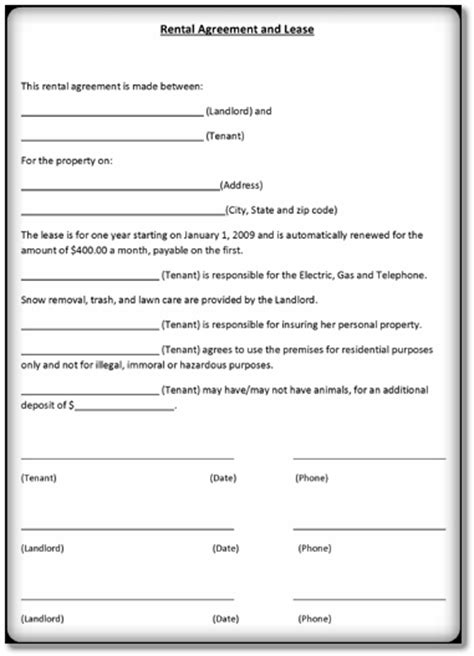 Lease Agreement Template 3 Download Form Format In Word Pdf Rental Agreement Templates Microsoft Office