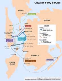 New York Ferry Map by Citywide Ferry Service Nycedc