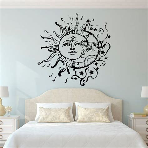 home wall decor stickers sun moon wall decals for bedroom sun and moon wall