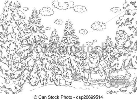 international christmas tree coloring page clipart of santa looking for a christmas tree in snow