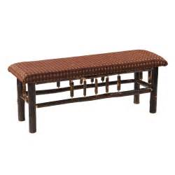 Upholstered Bench Cottage Hickory Upholstered Bench Rustic Furniture Mall