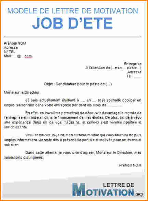 Lettre De Motivation Gratuite Job D Ete Etudiant lettre de motivation 233 t 233 lettre de motivation pdf