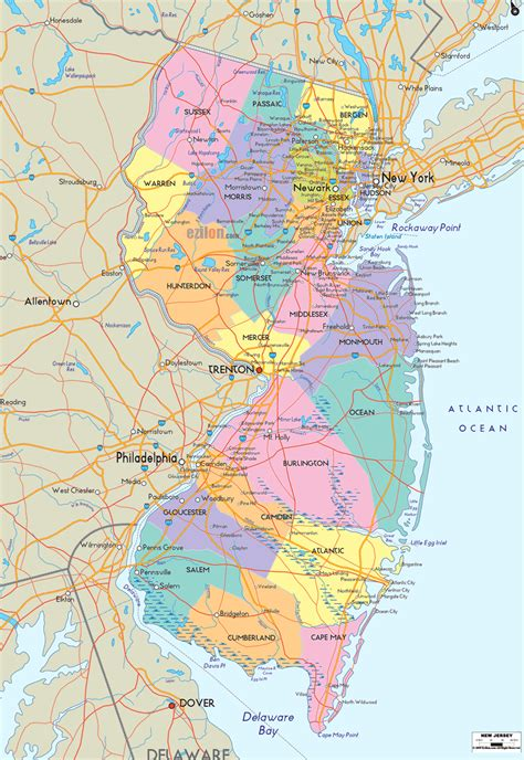 new map usa new jersey county map
