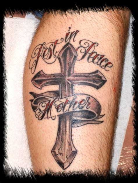 rest in peace cross mother banner tattoo on leg