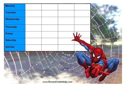 printable reward charts spiderman spiderman behavior charts
