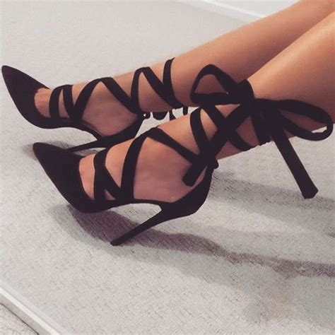 date out black ribbon lace up stiletto heels black