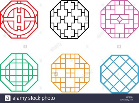 korean pattern vector modern hexagon korean pattern window frame vector stock