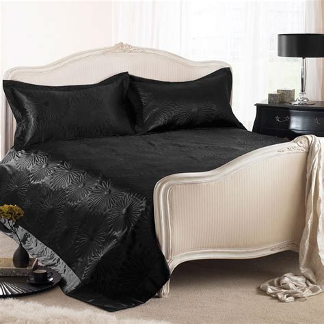 satin throws bedroom black daisy embossed satin bed throw blanket bed spread double king size new