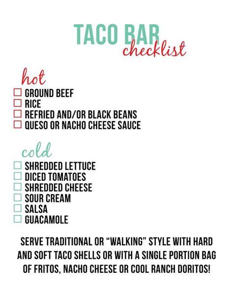 nacho bar toppings list taco bar checklist little baby seed taco night