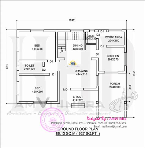 ground floor plan drawing kerala model home design in 1329 sq feet kerala home