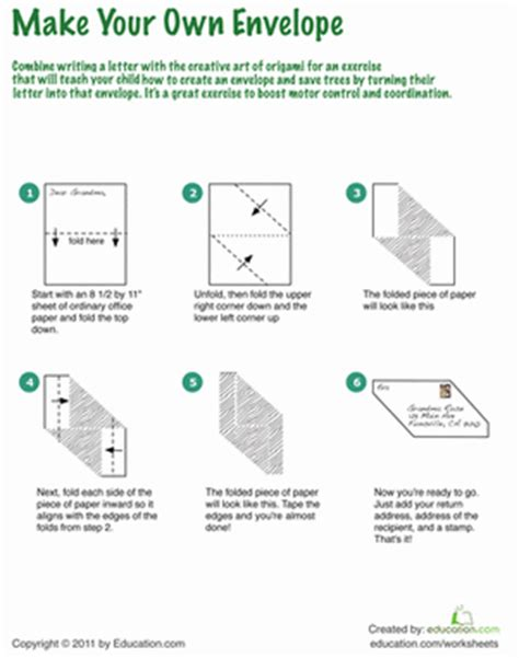 Origami Worksheet - how to make an origami envelope worksheet education