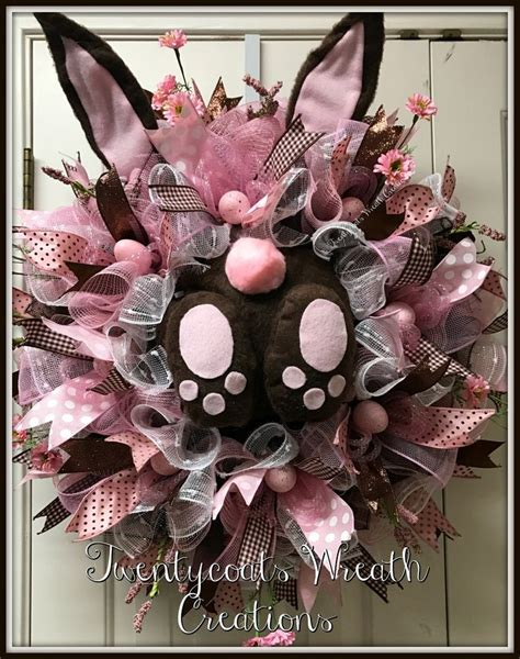 spring wreaths 2017 pink and brown deco mesh bunny butt wreath by twentycoats