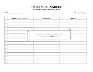 Construction Sign In Sheet Template by Contractors Help Desk Forms