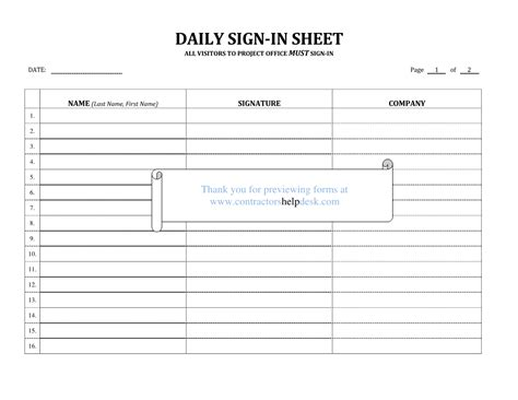 construction sign in sheet template contractors help desk forms