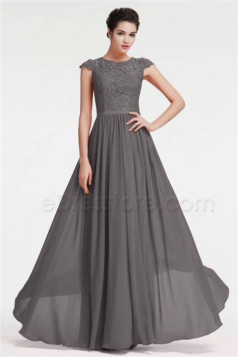 Grey Bridesmaid Dress by Modest Charcoal Grey Bridesmaid Dresses Cap Sleeves