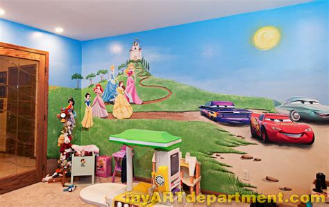 Wall Murals For Kids Playrooms disney characters mural for kids playroom