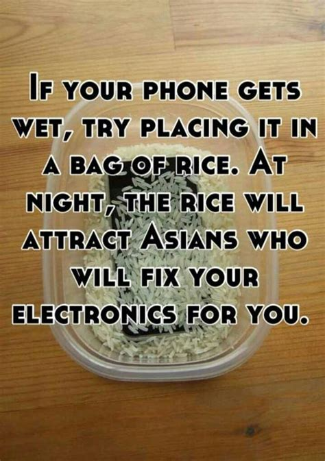 Phone In Rice Meme - if your phone gets wet try placing it in a bag of rice