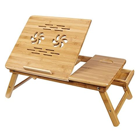 Awardwiki Songmics Bamboo Adjustable Laptop Desk In Bed Laptop Desk